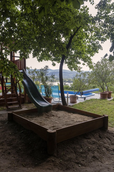 guest house, Hungary, playhouse, slide, sandbox